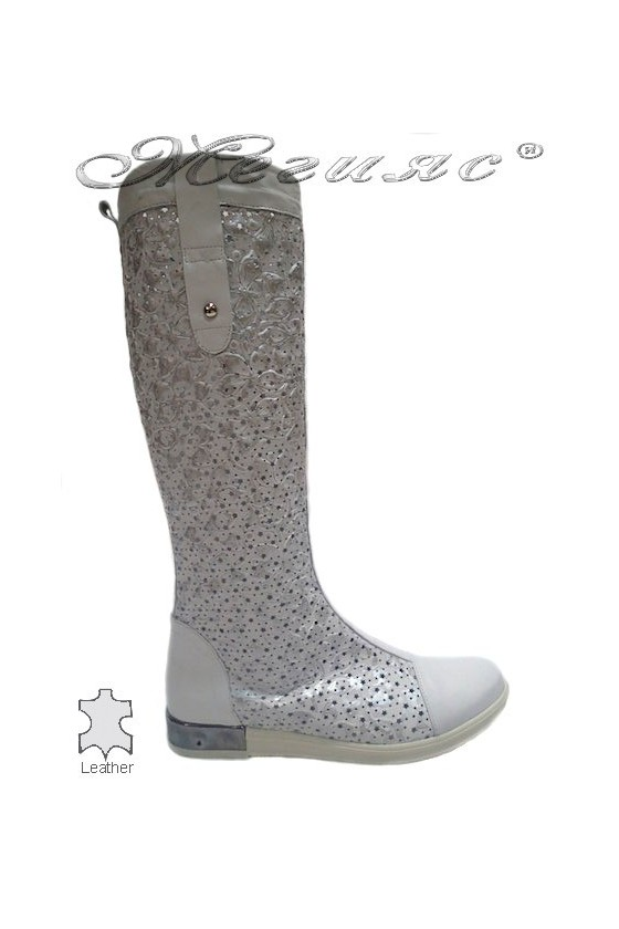 Lady summer boot 3345 white leather flat