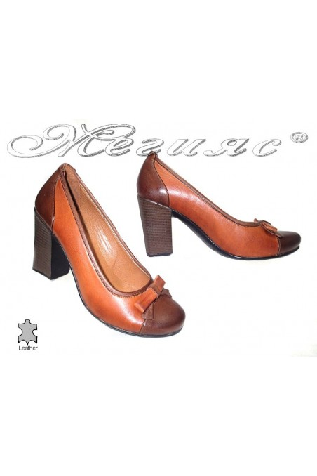 Lady elegant shoes 117 brown leather high heel