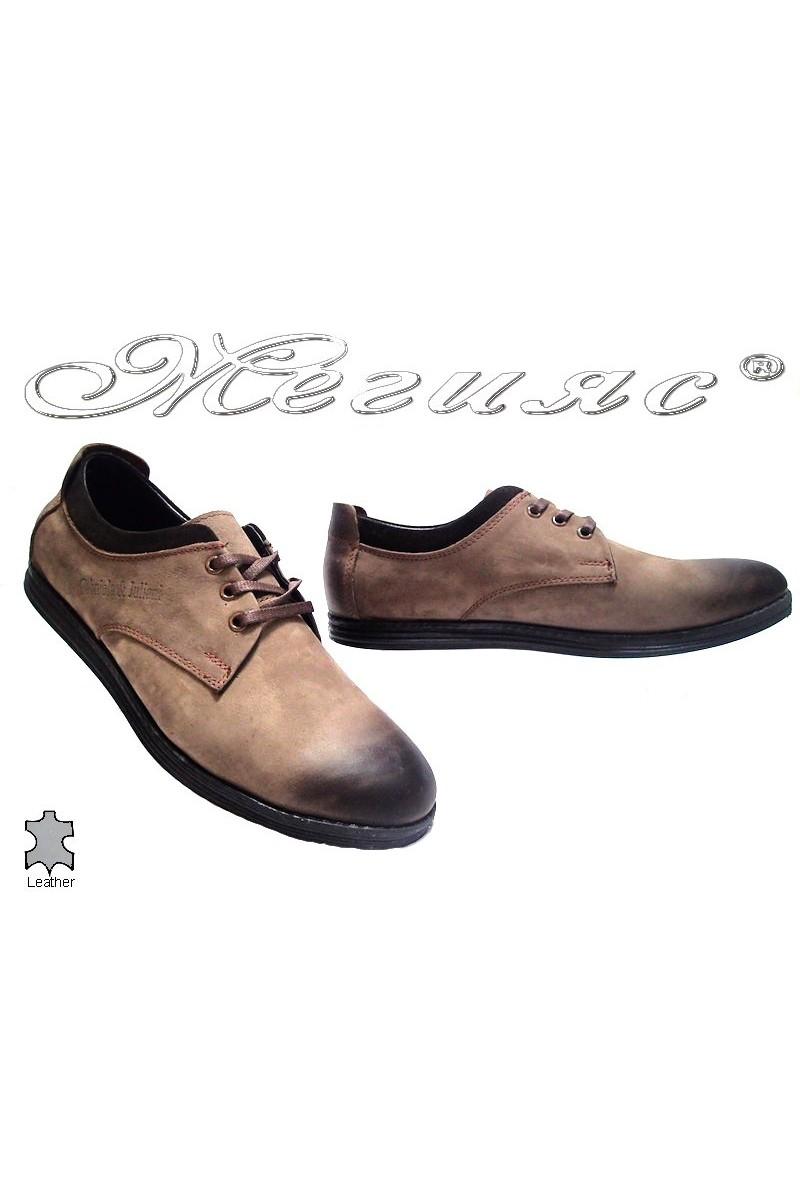 Мъжки обувки 262 бежови естествена кожа