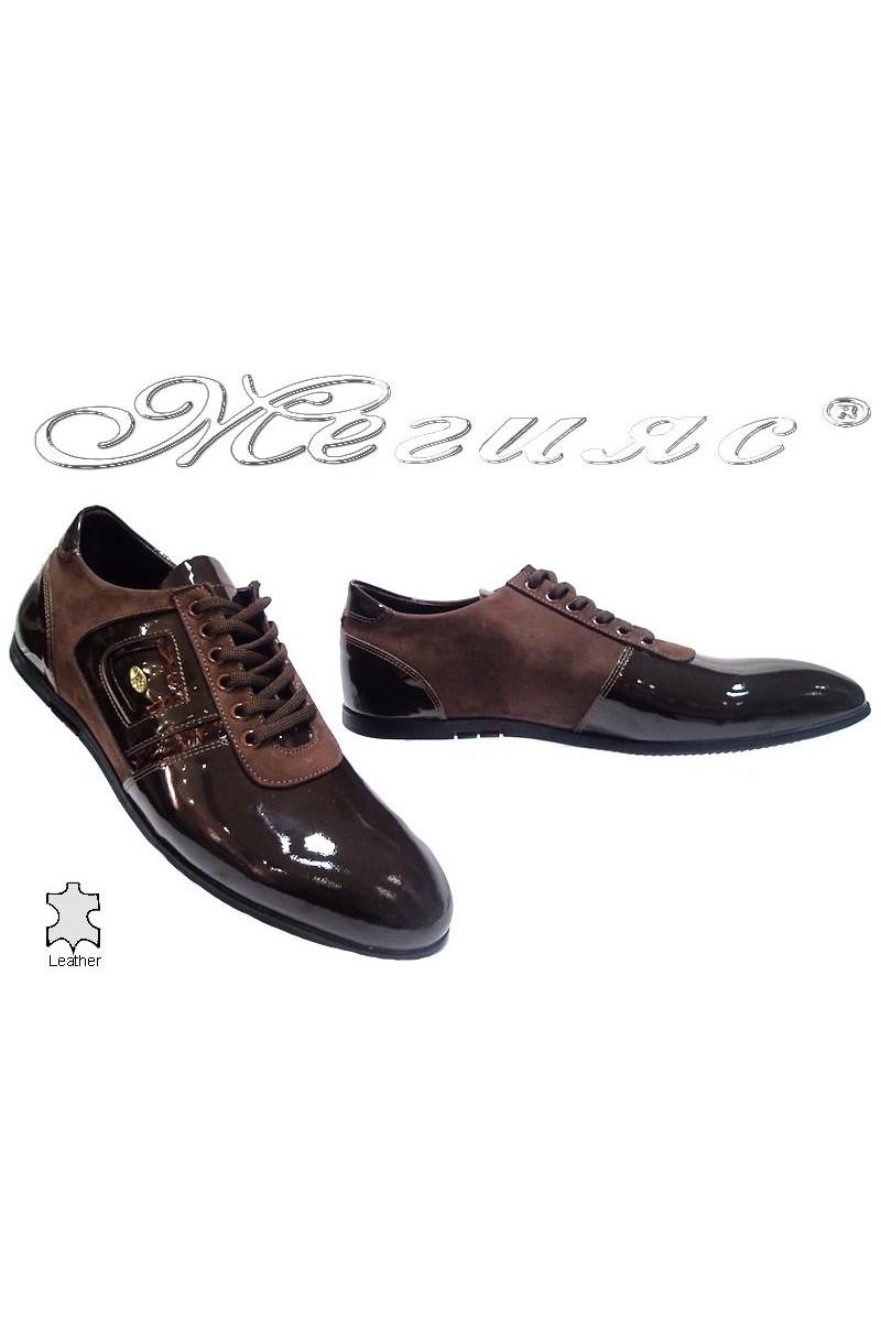 Мъжки обувки Фантазия 6126 кафяви+лак естествена кожа