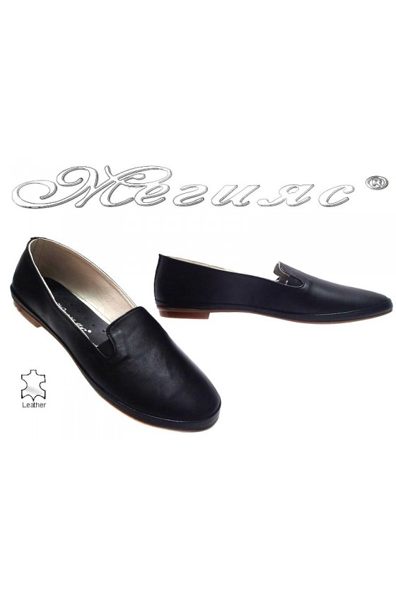Ladies flat shoes XXL 210 casual black all leather
