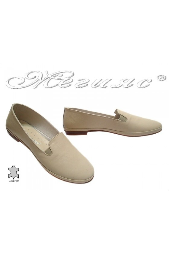Ladies flat shoes 210 casual beige all leather