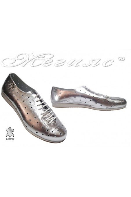 Lady sport shoes 3116 silver leather with holes