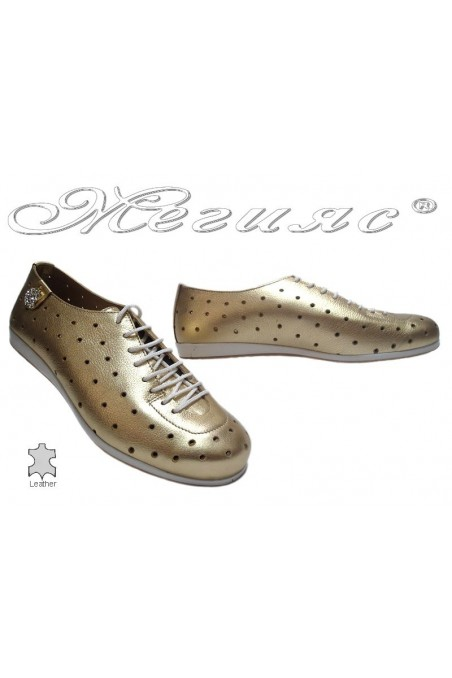 Lady sport shoes 3116 gold leather with holes