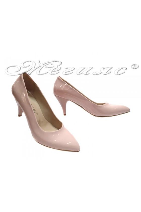 117 Дамски обувки пудра лак елегантни остри нисък ток