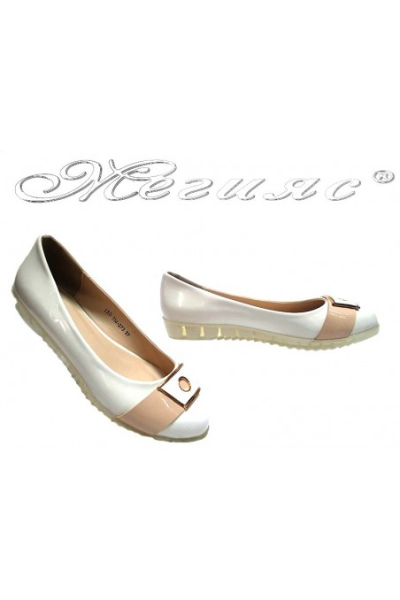 Ladies flat shoes Leo 114-273 casual white patent+pu