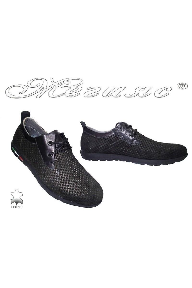 Мъжки обувки Rogger 662 черни естествена кожа