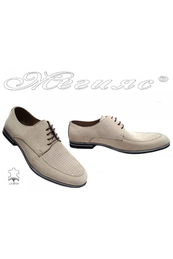 Мъжки обувки Sharp 915 бежови набук естествена кожа