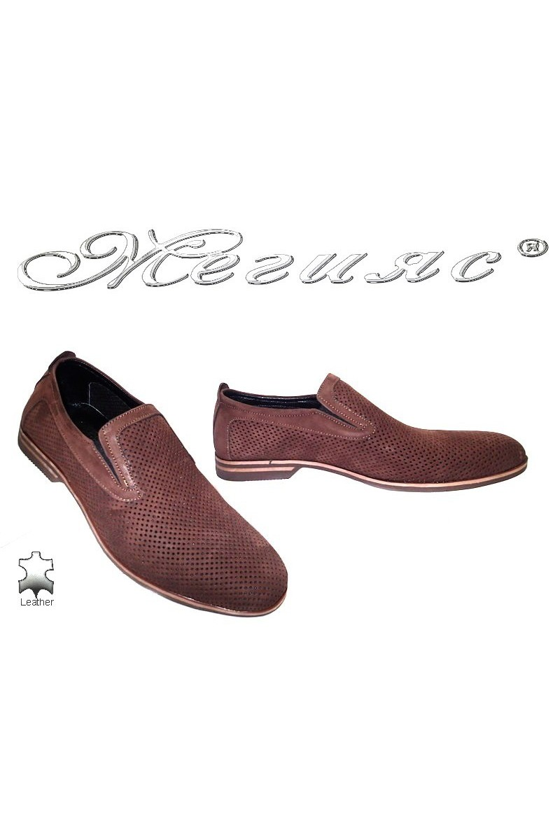 Мъжки обувки Sharp 920 кафяви набук естествена кожа