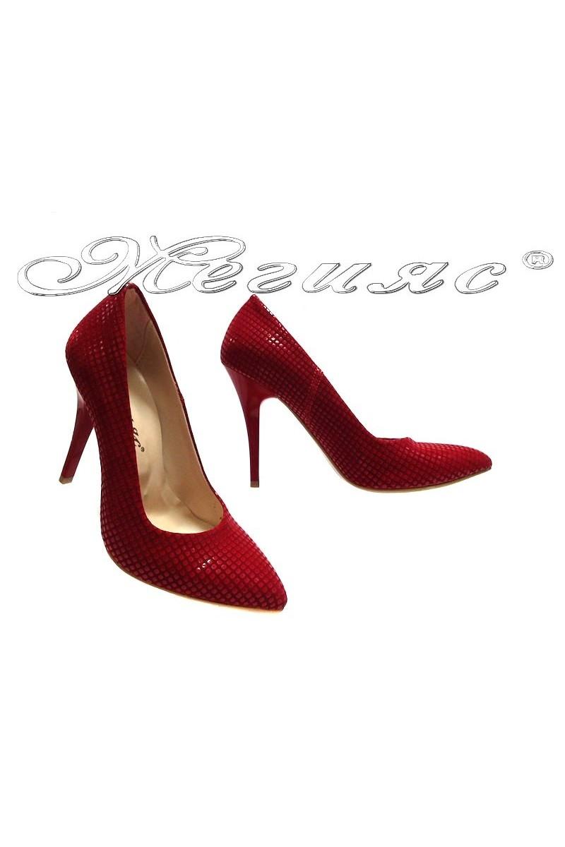 Дамски обувки 162 червени релеф