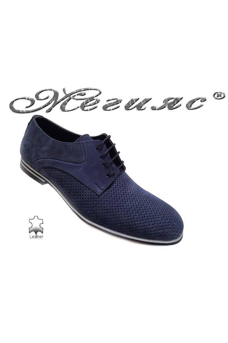 Мъжки обувки Sharp 901 синии набук естествена кожа