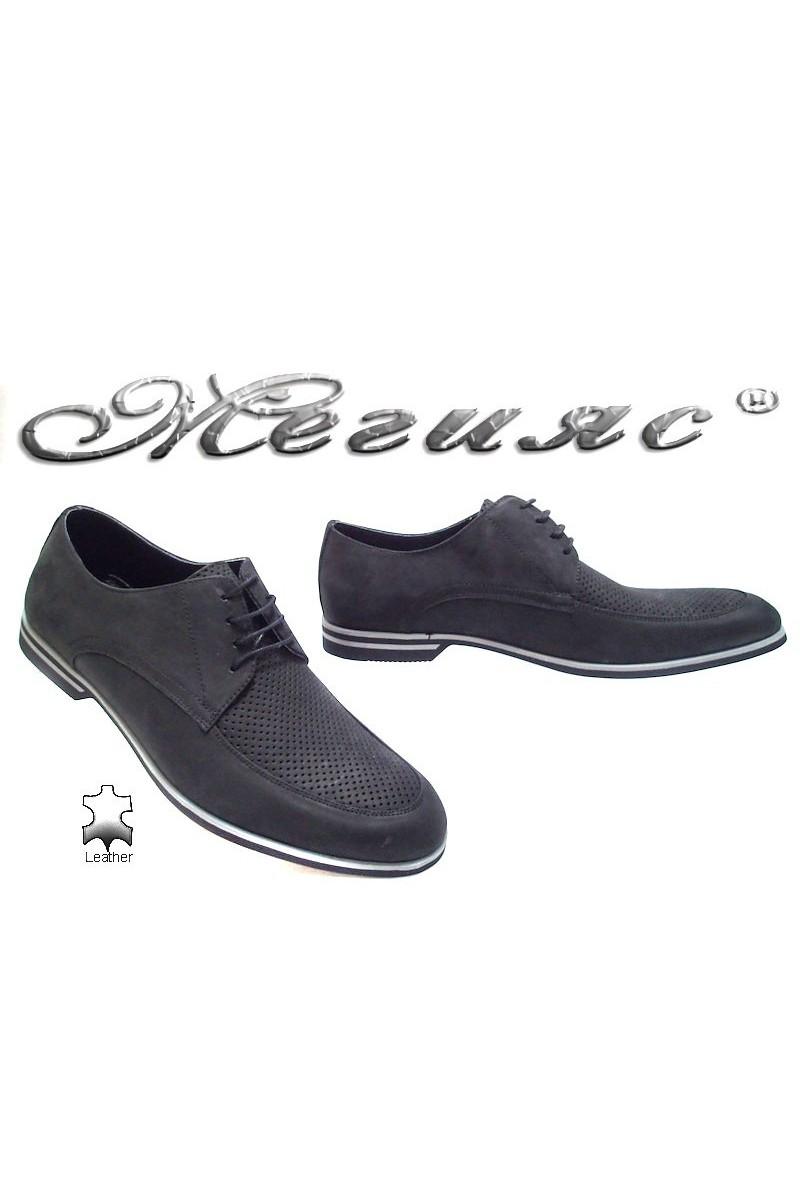 Мъжки обувки Sharp 915 черни набук естествена кожа