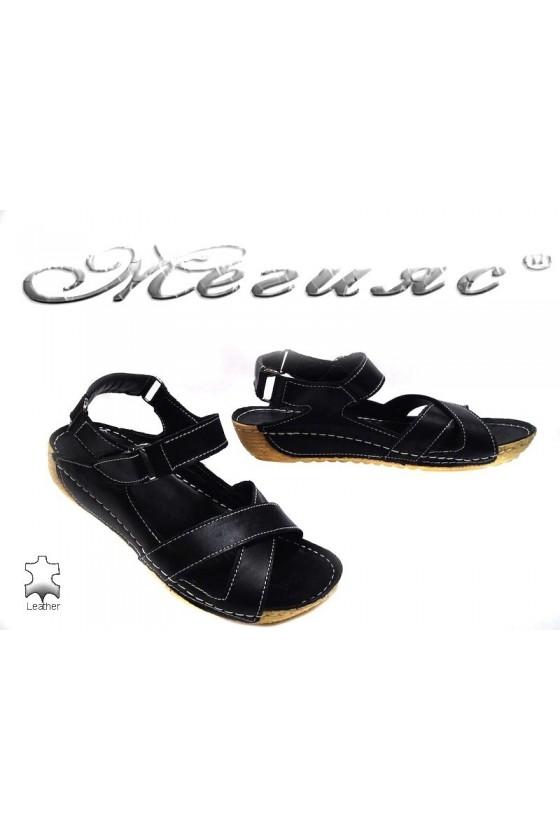 Дамски сандали 116 черни естествена кожа