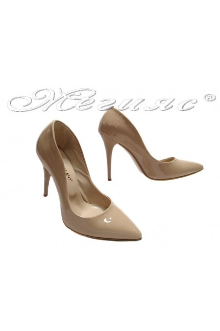 Lady elegant shoes 1800 beige patent high heel