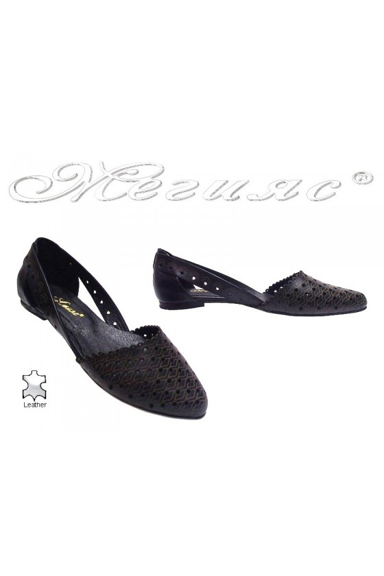 Women flat shoes 3146 casual black all leather