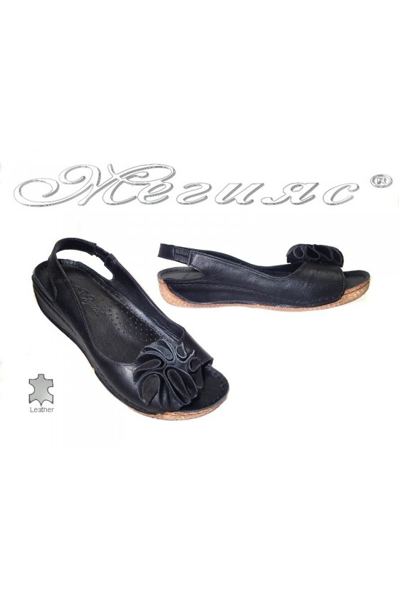 Дамски сандали XXL 108 черни естествена кожа