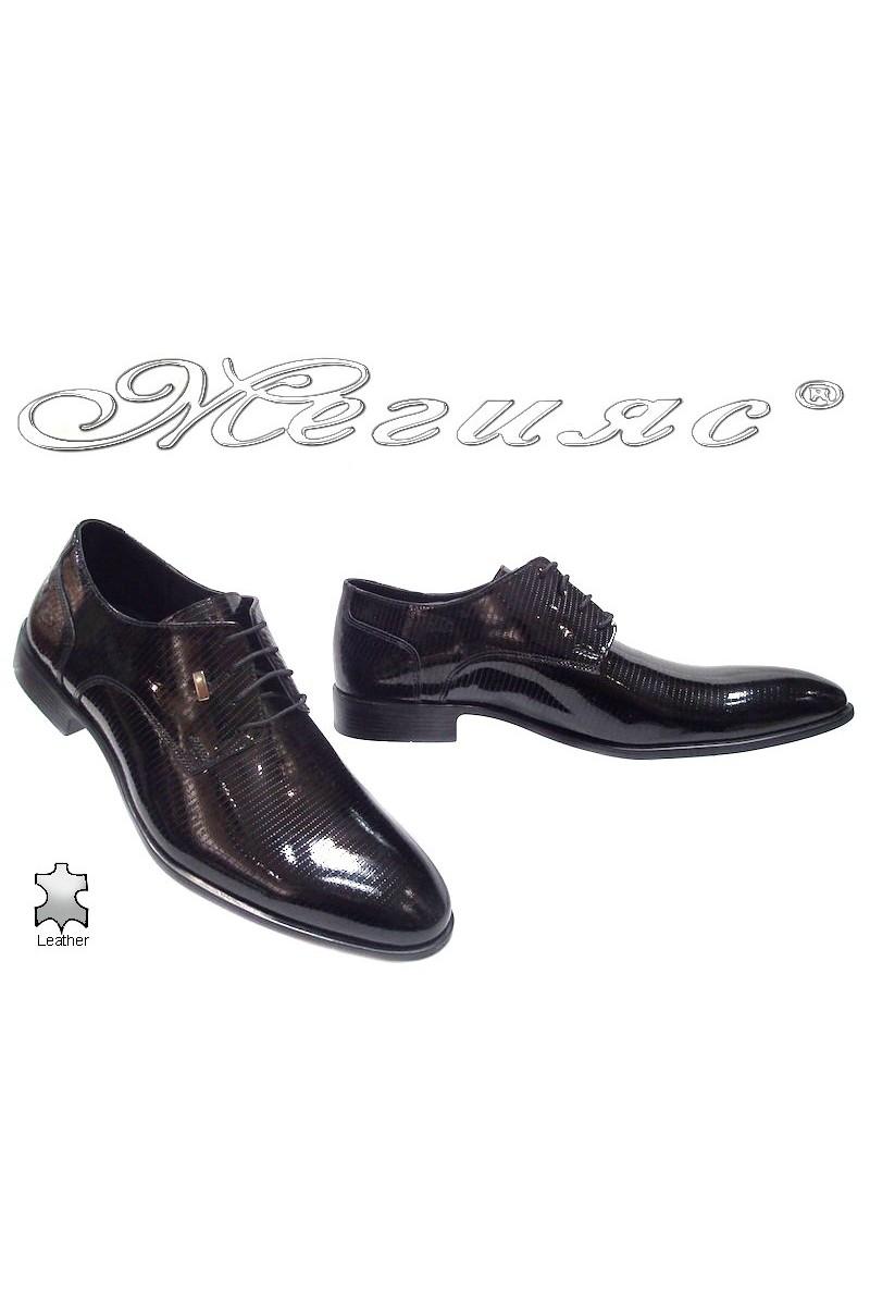 Мъжки обувки Фантазия 6012 черни лак естествена кожа