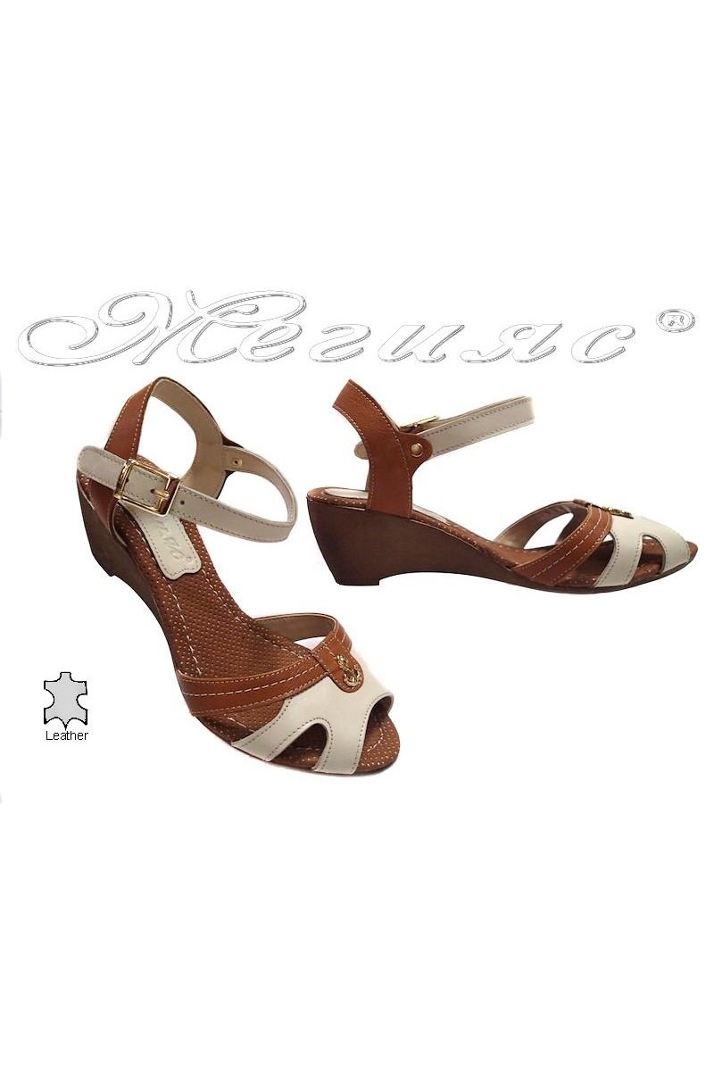 Дамски сандали 321 бежови естествена кожа