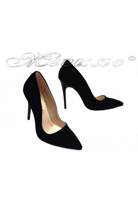 Lady elegant shoes 5596 black suede high heel