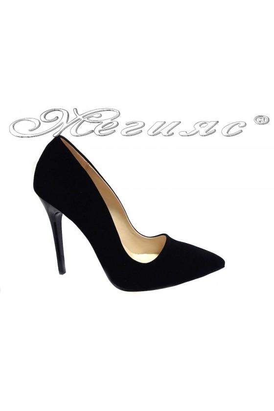 Lady elegant  shoes 5596 black suede high heel