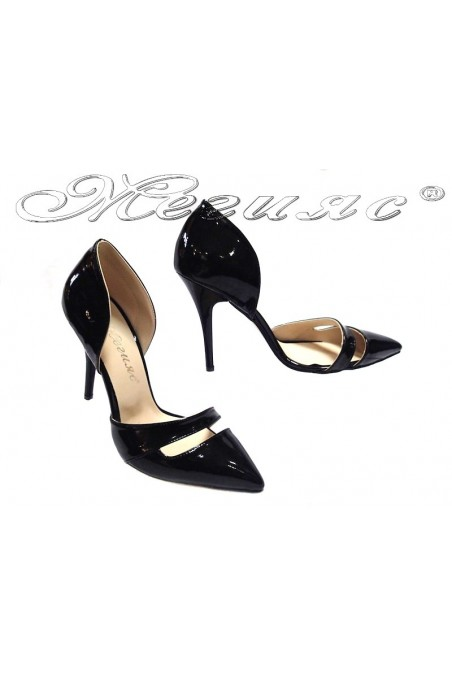 Women elegant shoes 219 black patent middle heel