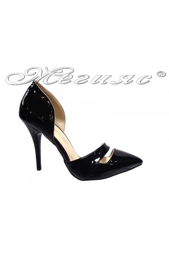 Women elegant  shoes 219 black patent middle heel