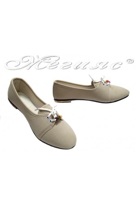Дамски обувки връзки едноцветни бежови