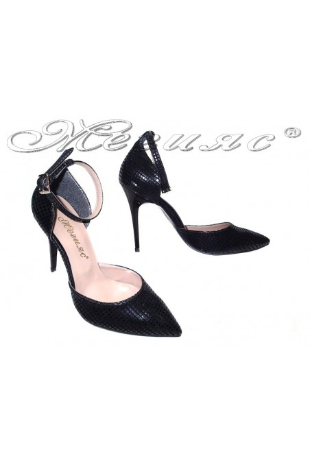 Lady elegant shoes 5060 black high heel pu