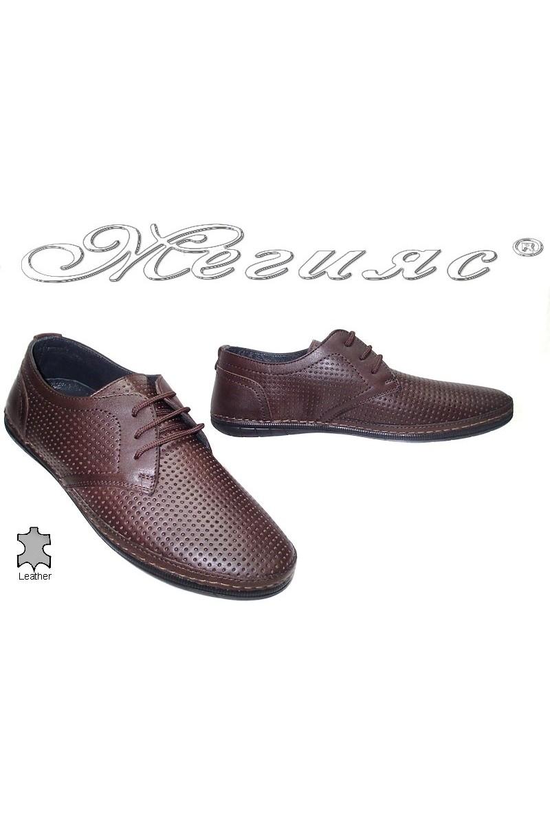 Мъжки обувки Puffy 716 тъмно кафяви перфорация естествена кожа