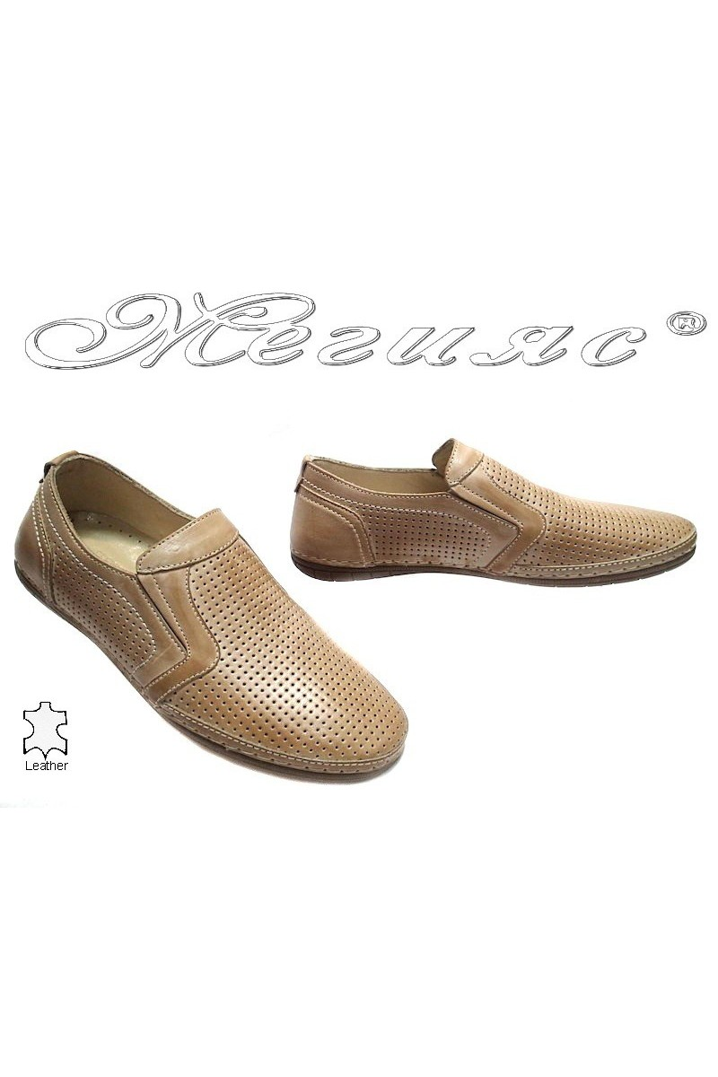Мъжки обувки Puffy 715 бежови перфорация естествена кожа