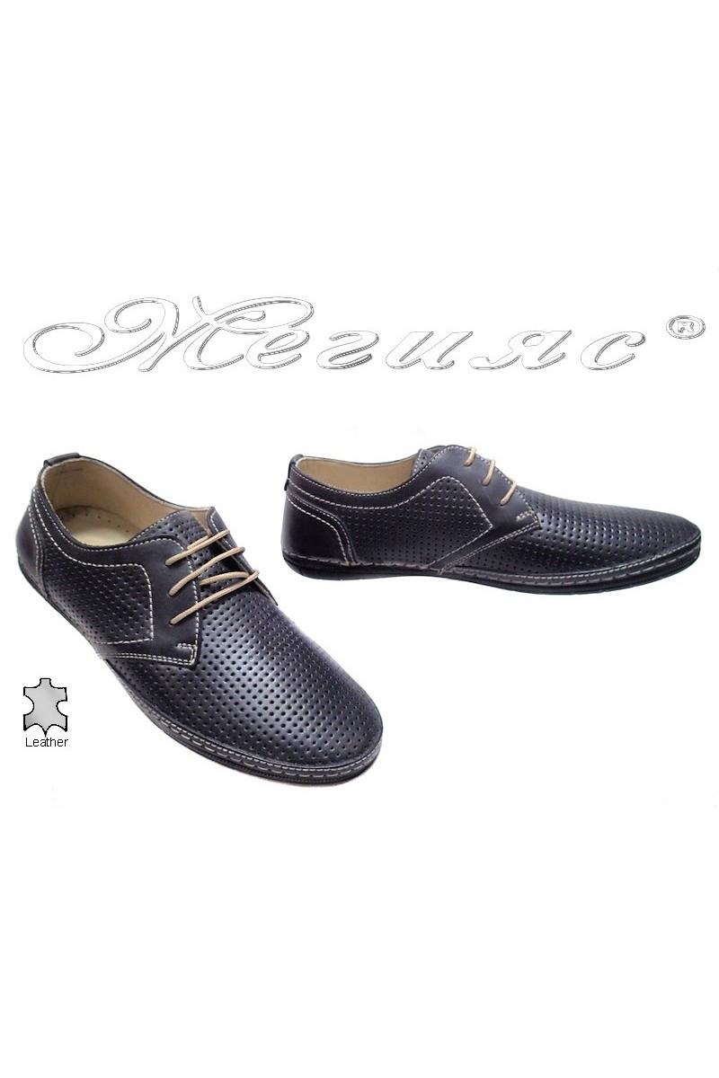 Мъжки обувки Puffy 716 сиви перфорация естествена кожа