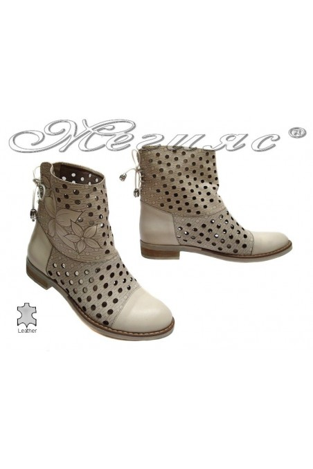 Lady summer boots 3336 beige leather with low heel