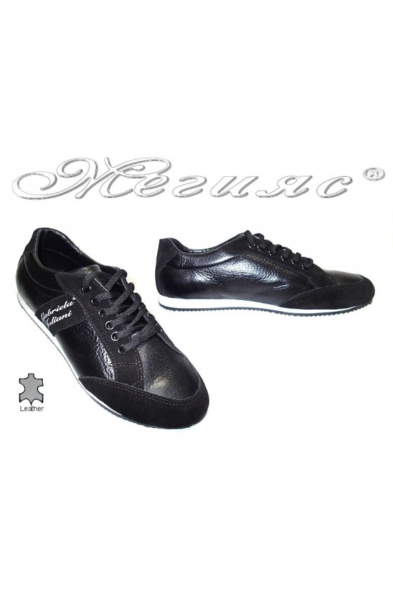 Юношески обувки К-03 черни кожа+набук