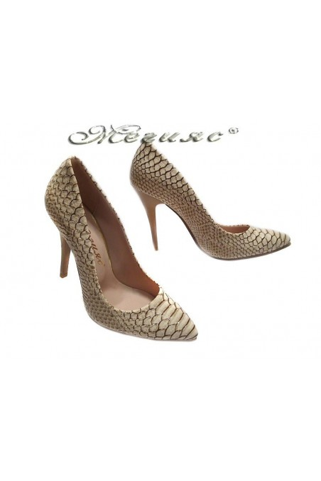 Women elegant shoes 050 beige high heel pu
