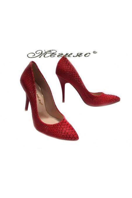 Women elegant shoes 050 red high heel pu