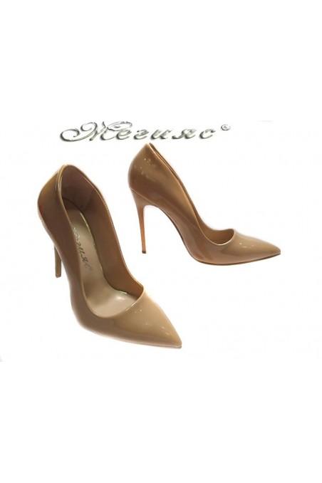 Lady elegant shoes 5596 beige patent high heel