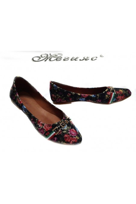 Ladies flat shoes 2013 casual black flowers textiles+pu