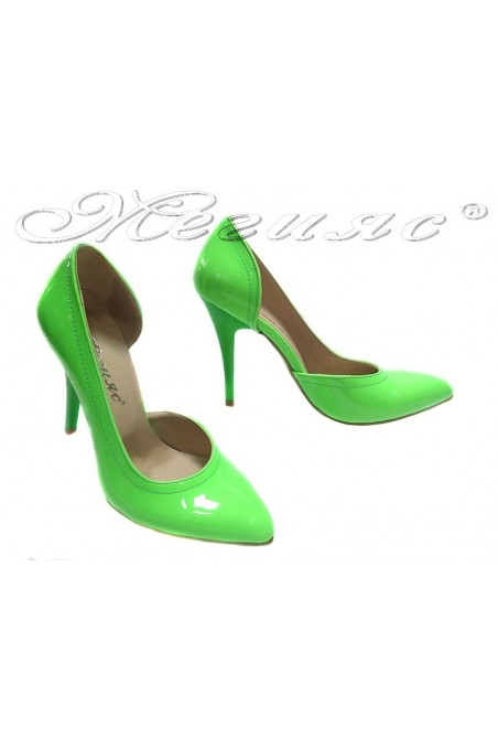 Lady elegant shoes 263 green patent high heel