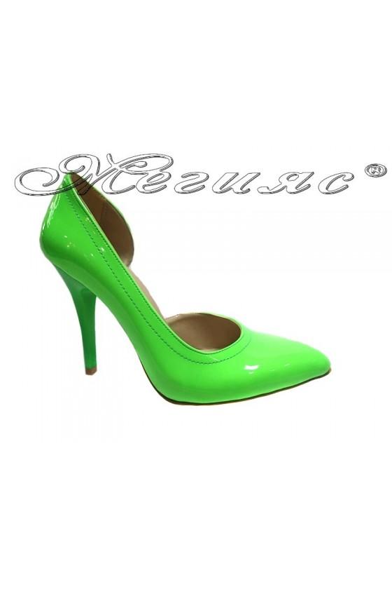 Lady elegant  shoes 263 green patent  high heel