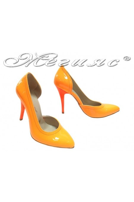 Lady elegant shoes 263 orange patent high heel