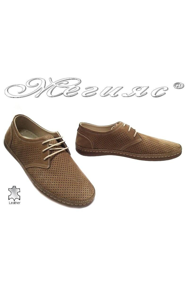 Мъжки обувки Puffy 728 таба перфорация естествен набук