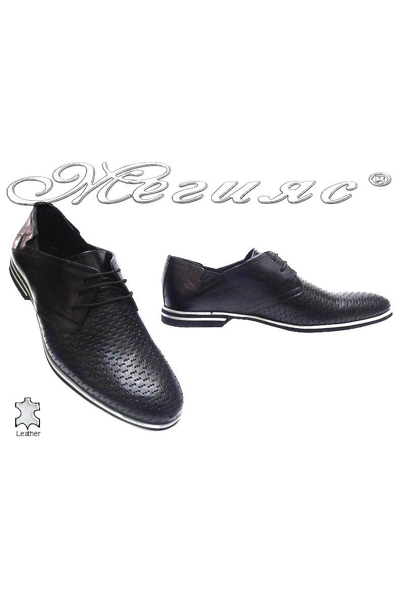 Мъжки обувки Фантазия 6175 черни естествена кожа