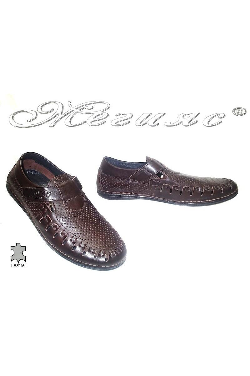 Мъжки обувки Puffy 729 тъмно кафяви естествена кожа