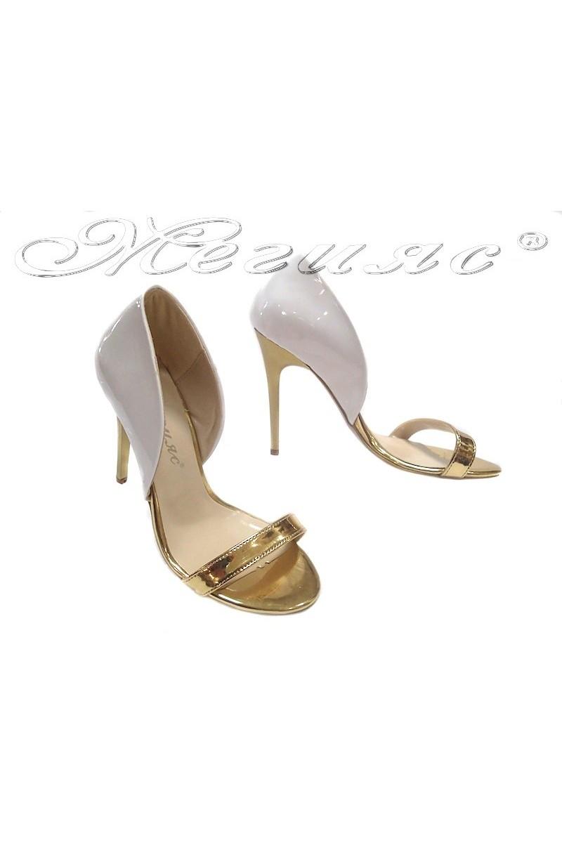 Дамски сандали 1125 бяло+злато