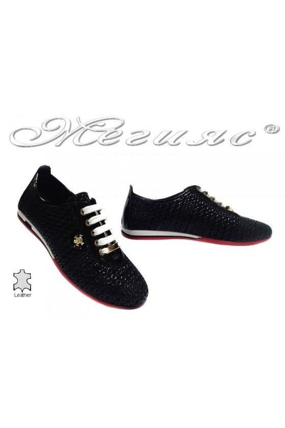 Women sport flat shoes 109 black leather