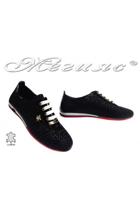 Women sport flat shoes 109 black leather