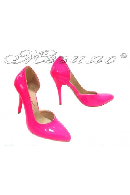 Ladies elegant shoes 263 pink patent high heel