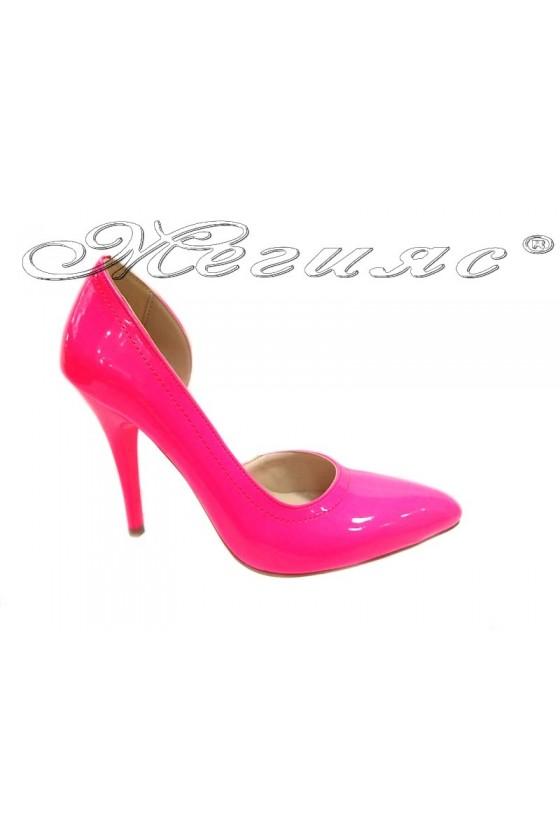 Ladies elegant shoes 263 pink patent high heel