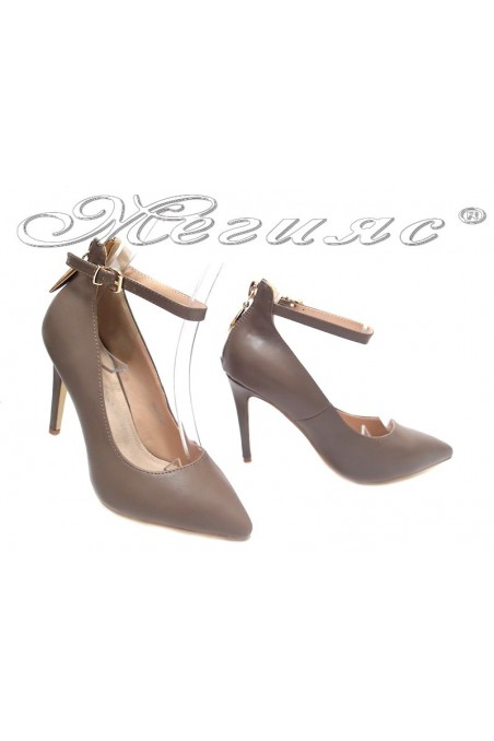 Ladies elegant shoes 15-387 khaki high heel pu