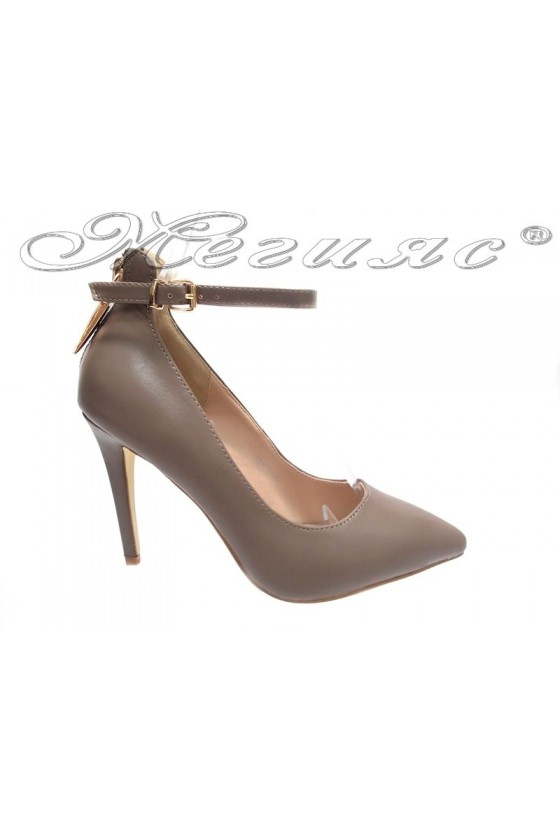 Ladies elegant shoes 15-387 khaki high heel pu